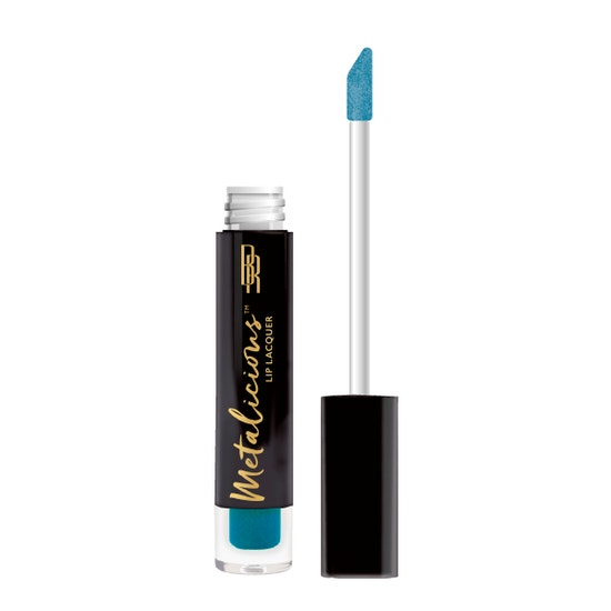 Black Radiance | Metalicious Lip Lacquer - Top Off - Product front facing with applicator along side, with no background