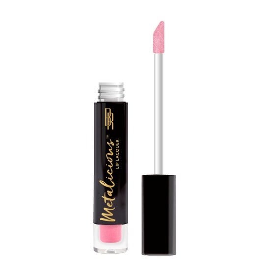 Black Radiance | Metalicious Lip Lacquer - Top Down - Product front facing with applicator along side, with no background