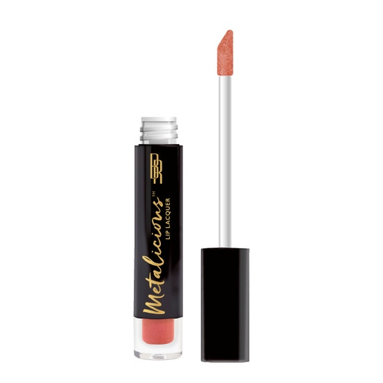 Black Radiance | Metalicious Lip Lacquer - Over The Top - Product front facing with applicator along side, with no background