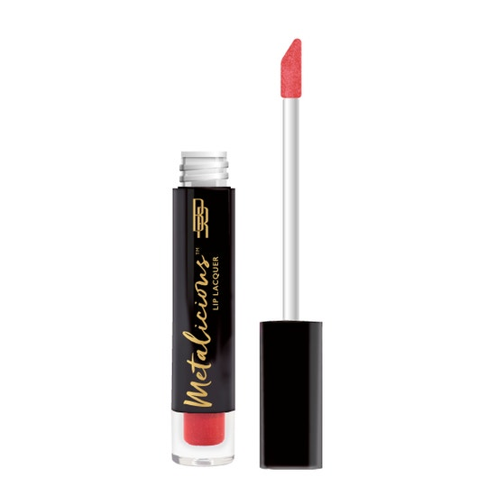 Black Radiance | Metalicious Lip Lacquer - Top Secret - Product front facing with applicator along side, with no background