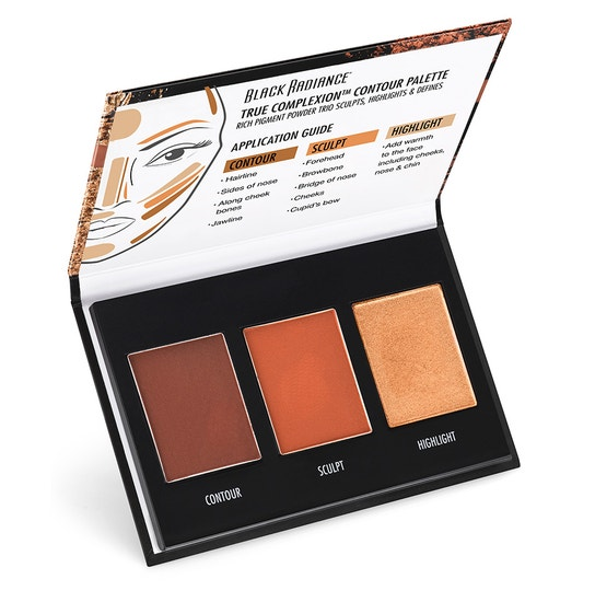 Black Radiance Beauty | TRUE COMPLEXION CONTOUR PALETTE, Medium to Dark - Product angle view open compact, with white background