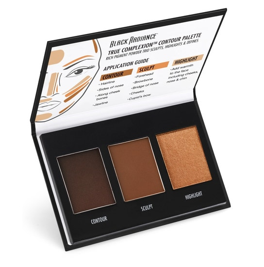 Black Radiance Beauty | True Complexion Contour Palette - Dark To Deep - Product angle view open compact, with white background