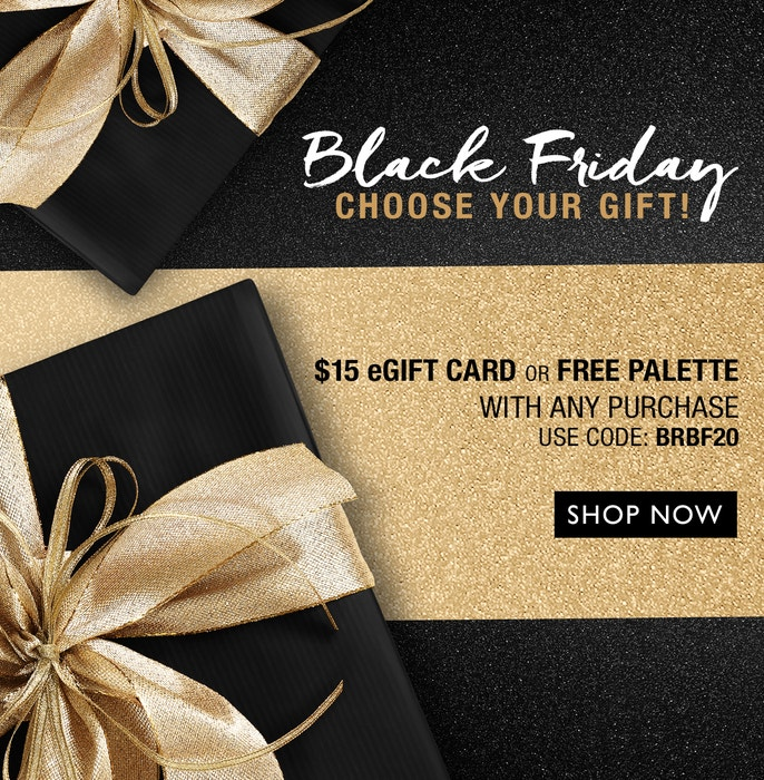 Black Radiance | Black Friday - Choose Your Free Gift! $15 eGift Card or Palette with any purchase. Use Code: BRBF20 | Black and gold gift boxes, with black and gold background