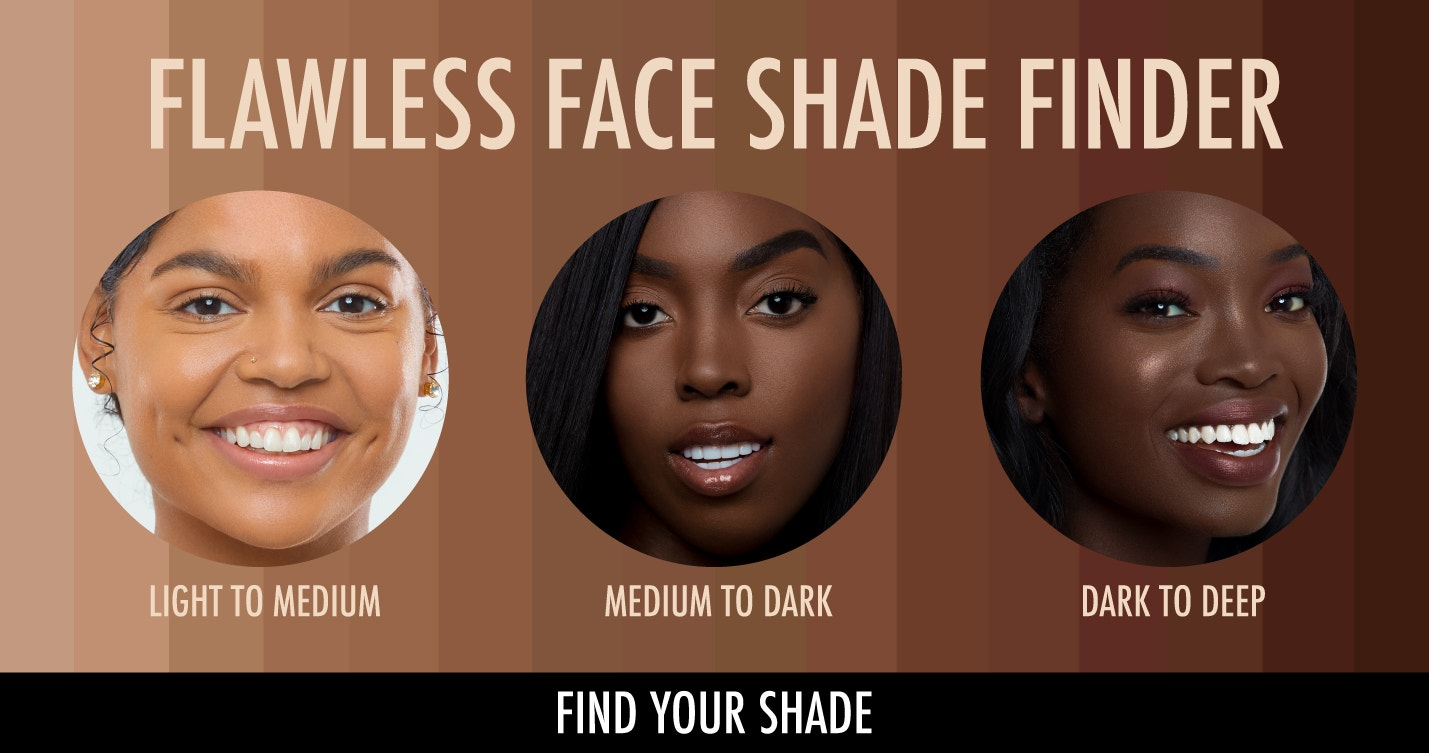 Black Radiance | Color Perfect™ Liquid Make-Up - Flawless Face Shade Finder - Find your Shade | Models with shade grid on background