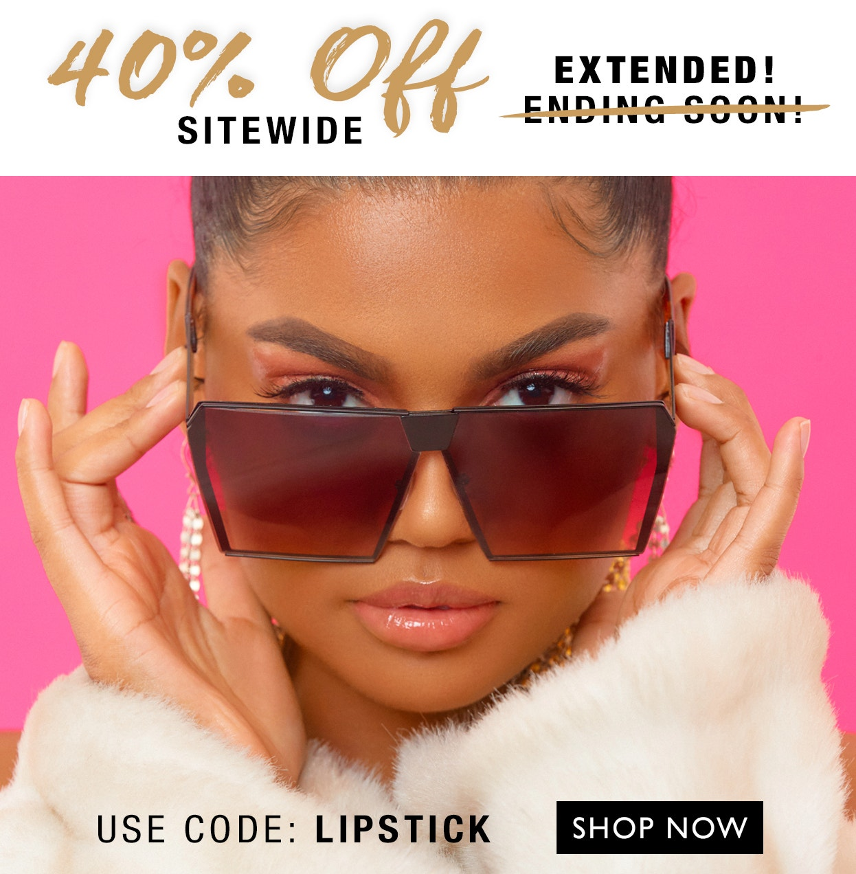 Black Radiance   Extended! 40% Off Sitewide with code: LIPSTICK - shop your favorite contour palette, lipsticks, and more! model with sunglasses on pink background
