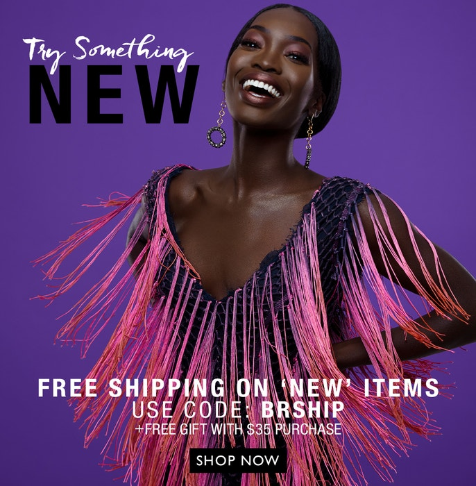 Try Something New | Free Shipping on New Items - Use Code: BRSHIP + Free Gift with $35+ Purchase | Black Radiance | Model image with purple background