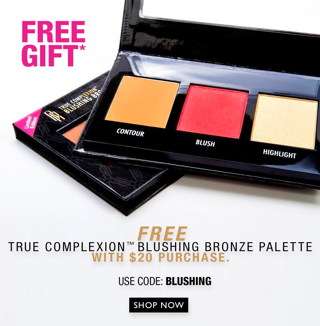 Free True Complexion Blushing Bronze Palette w/ $20 purchase | Use Code: BLUSHING | Shop Now!